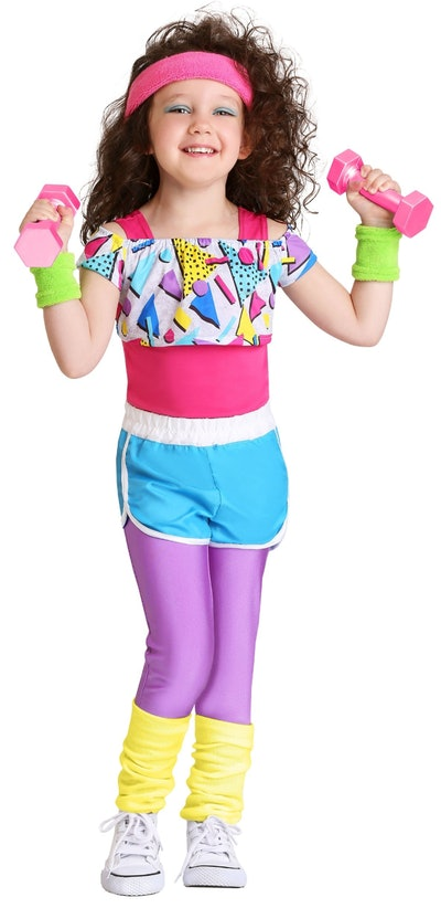 Girls Toddler Work It Out 80s Costume