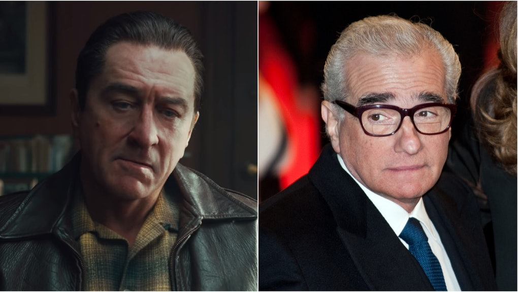 """Left: a still of Robert De Niro in the trailer for """"The Irishman."""" Right: a photo of director Martin Scorsese wearing a suit and glasses."""