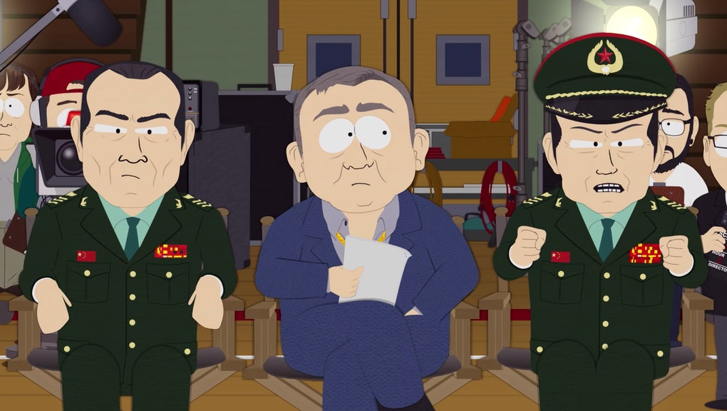 "A still from the SOUTH PARK episode ""Band in China,"" showing an angry Chinese official."