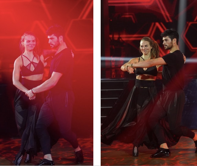 """Hannah Brown and Alan Bersten practice the paso doble to Icona Pop's """"I Love It"""" on Dancing with the Stars."""