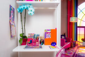 Hotels.com Lisa Frank Flat office area with Lisa Frank stationary.