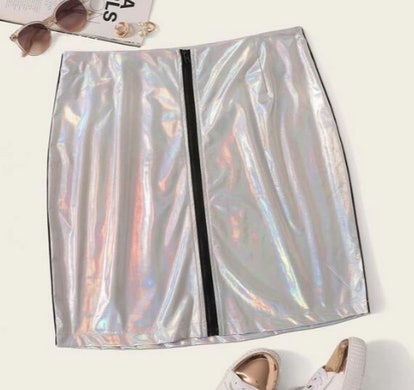 Plus Zip Up Metallic Skirt