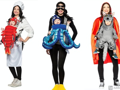 Fun baby carrier costumes for Halloween including divers and octopus, a chef and lobster, and little red riding hood with a wolf.