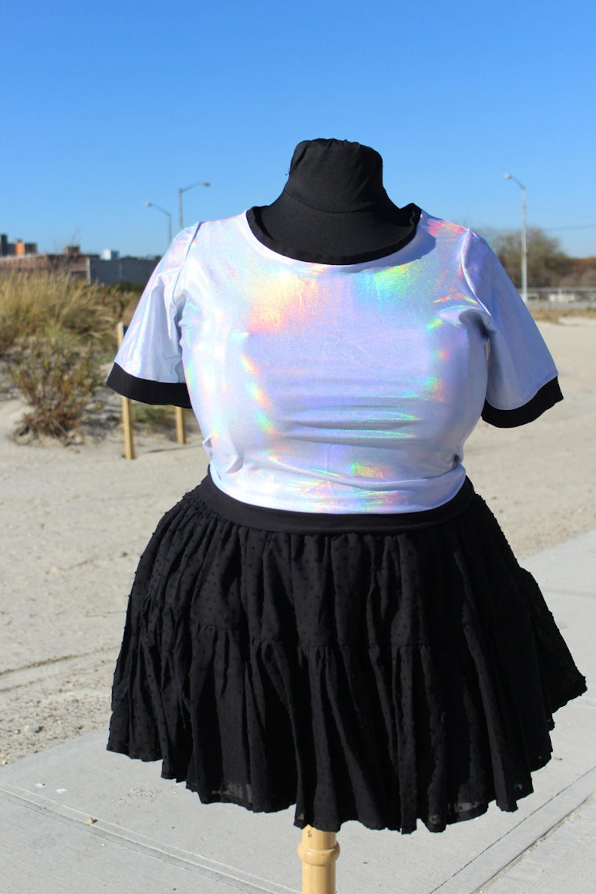 Plus size holographic ringer crop top- holo, silver