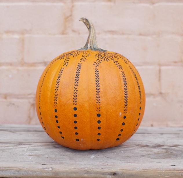 DIY Stencil Pumpkin Design