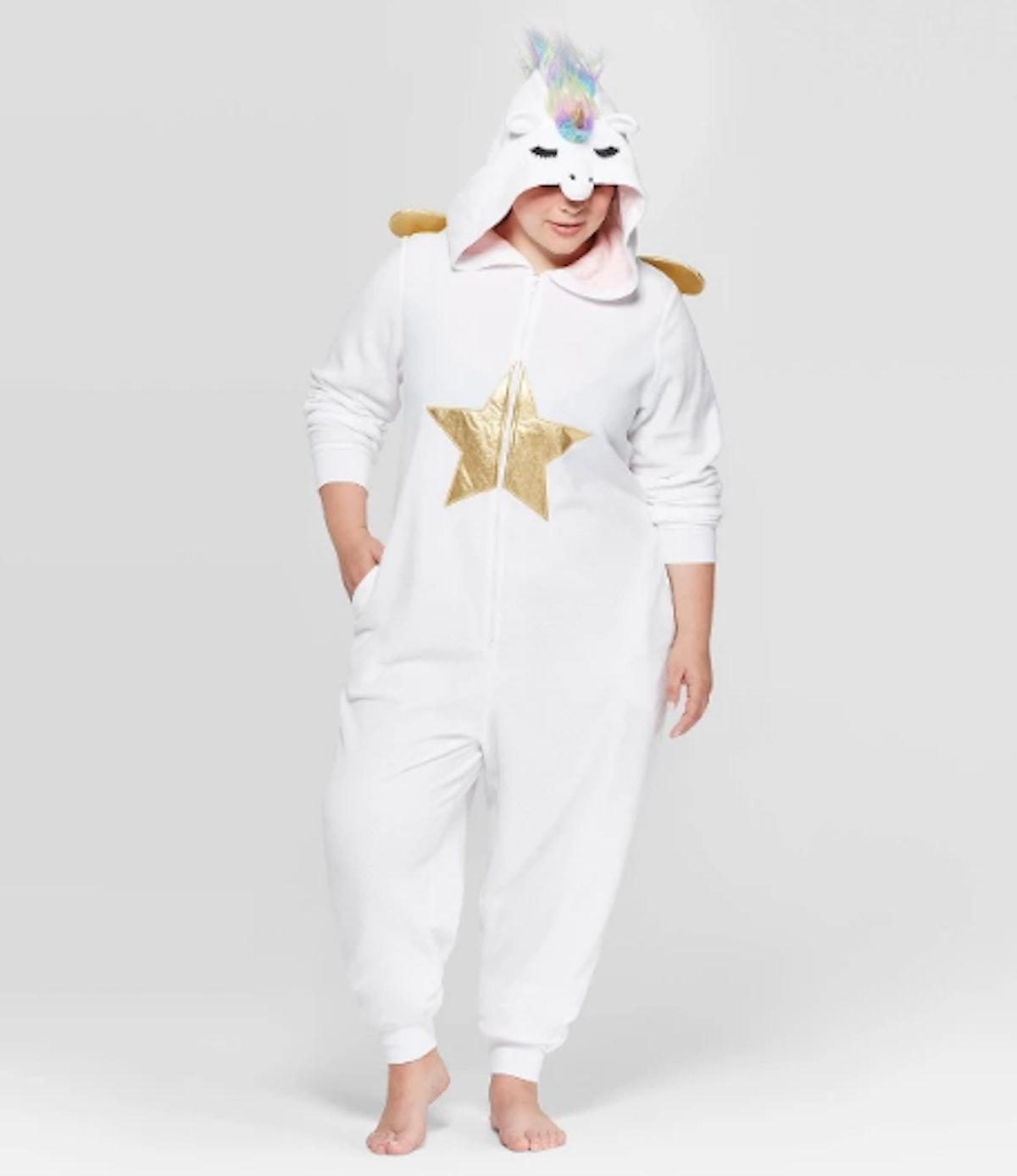 Women's Plus Size Unicorn Union Suit - White
