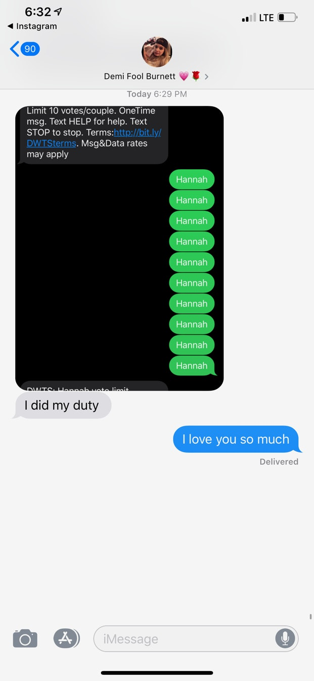 A text message between Bachelor Nation alums Demi Burnett and Hannah Brown about DWTS.