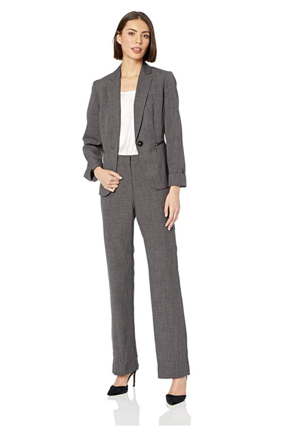 Le Suit Women's 1 Button Notch Collar Melange Pant Suit with Zip Pockets