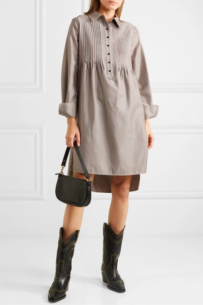 Pintucked Houndstooth Tweed Dress