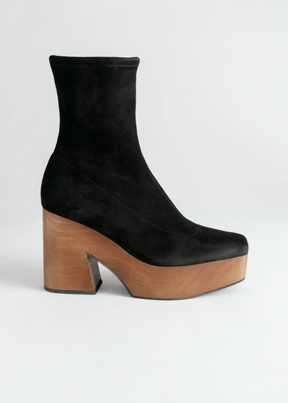 Suede Wooden Platform Boots