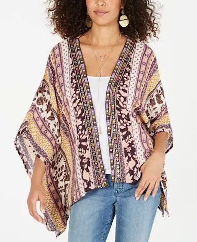 Printed Embroidered-Trim Kimono Top