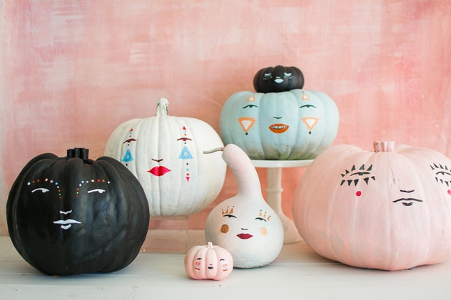 pastel pretty faces template for pumpkin decorating