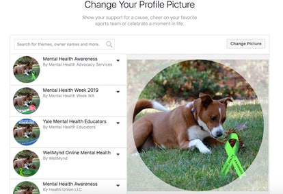 Changing your Facebook profile photo to include a green ribbon for Mental Health Awareness.