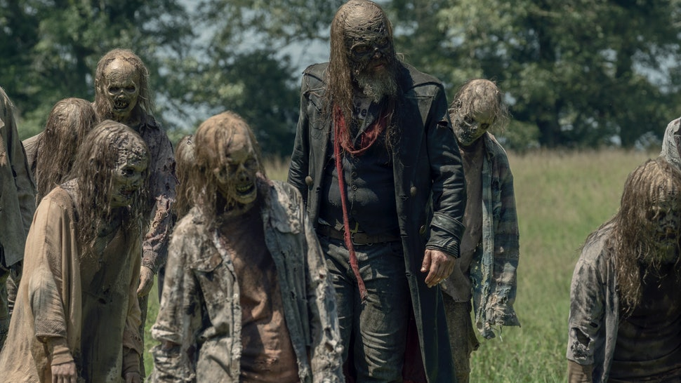 Beta and the masked Whisperers on The Walking Dead