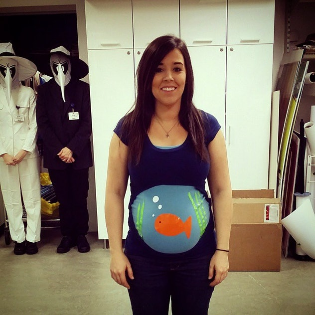 fish bowl halloween costume, maternity costume, clever pregnancy costume