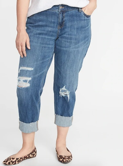 Mid-Rise Plus-Size Boyfriend Straight Distressed Jeans