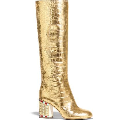 High Boots Crocodile Embossed Metallic Calfskin