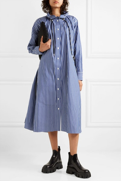 Gathered Striped Cotton-Poplin Midi Dress
