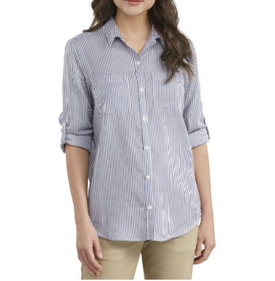 Women's Long Sleeve Button-Up Shirt, Rinsed Blue/White Stripe