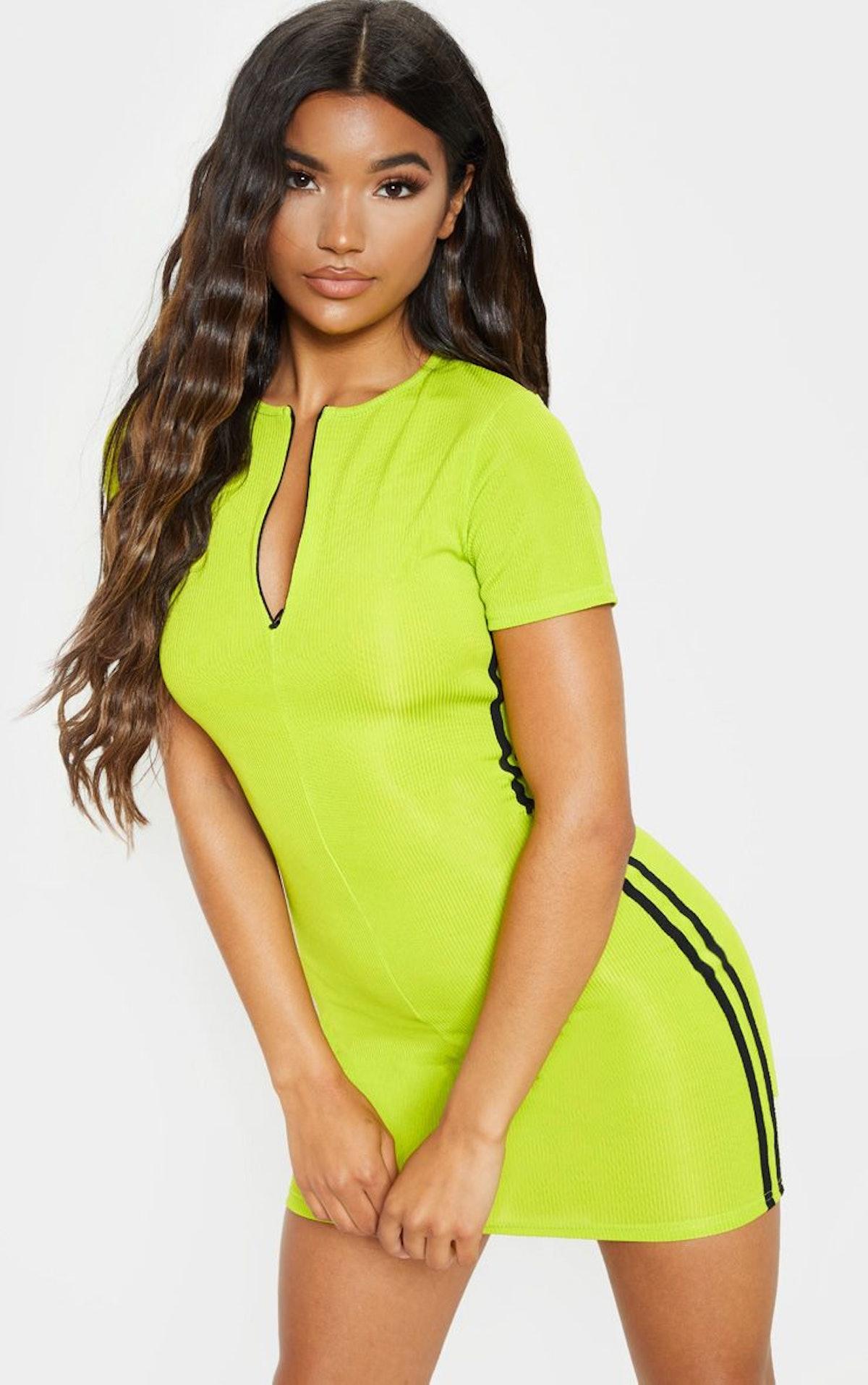 Lime Zip Front Side Stripe Bodycon Dress