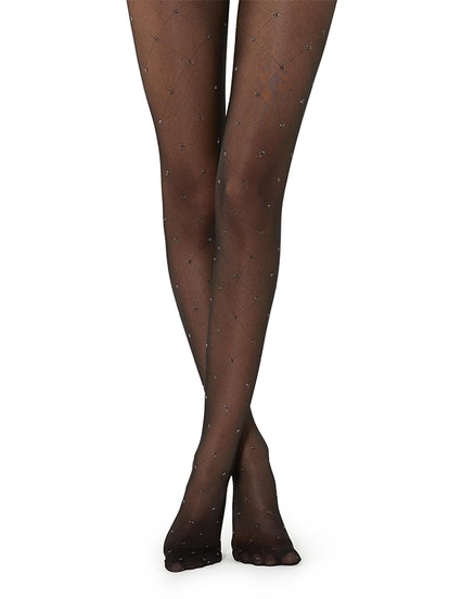 Diamond-Patterned Tights With Glitter Dots