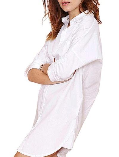 Women's Casual Long Sleeve Boyfriend Pocket Shirt Dress Tunic Top