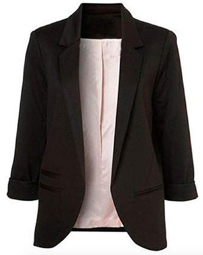 Faddish Women's Cotton Basic Boyfriend Ponte Rolled Blazer