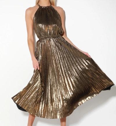Christina Gold Pleated Halter Midi Dress