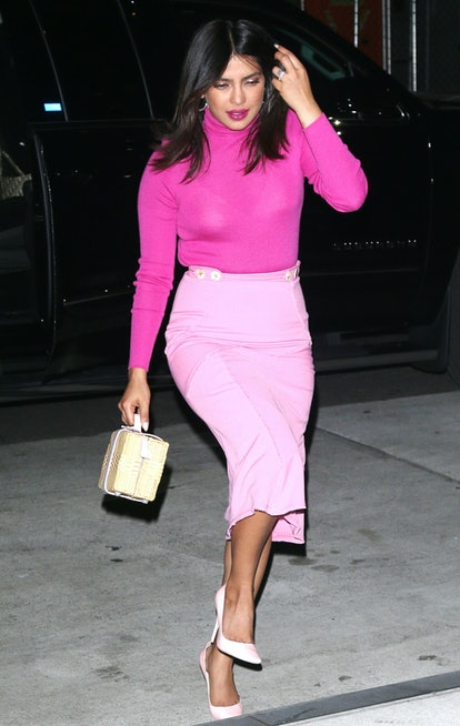 Priyanka Chopra's hot pink lipstick goes perfectly with her monochromatic outfit