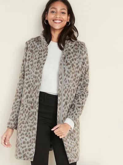 Oversized Soft-Brushed Leopard-Print Coat for Women
