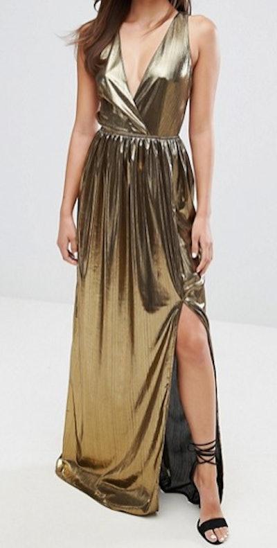 V Neck Maxi Dress With Pleated Back Panels
