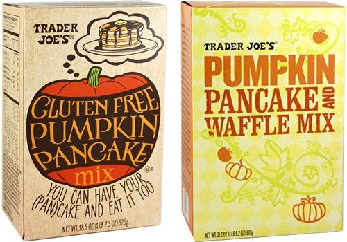Trader Joe's Gluten-Free And Original Pumpkin Pancake And Waffle Mixes.
