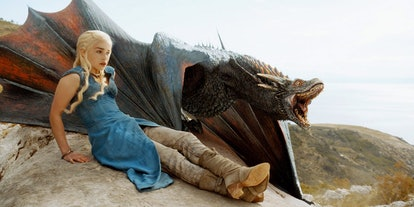 Dress up as Daenerys Targaryen and her dragon for a matching Halloween dog and owner costume from 'Game of Thrones'.