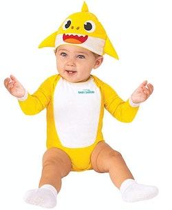 baby wearing baby shark costume