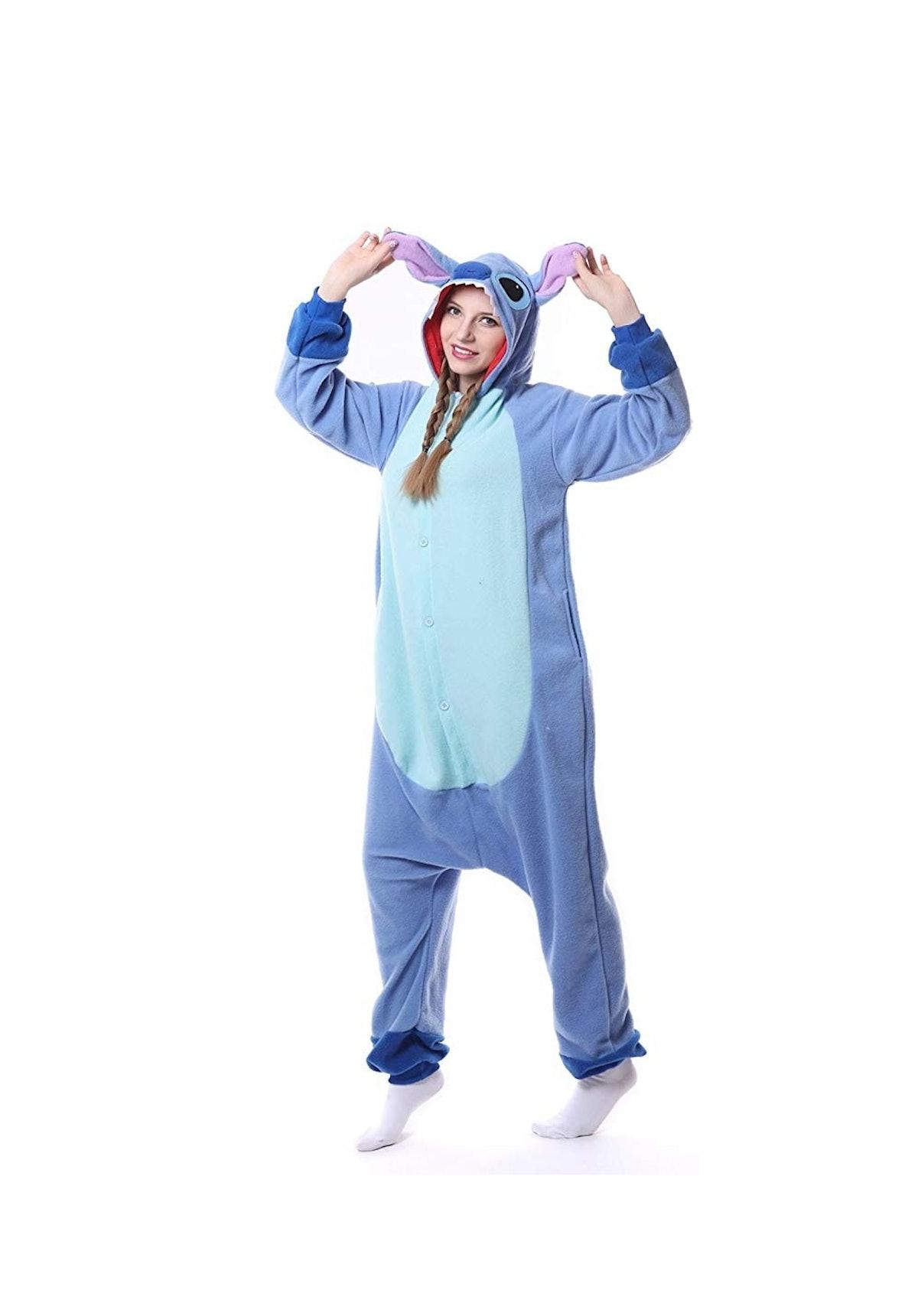 Unisex-Adult Onesie Pajamas Stitch Animal Sleepwear for Halloween Party