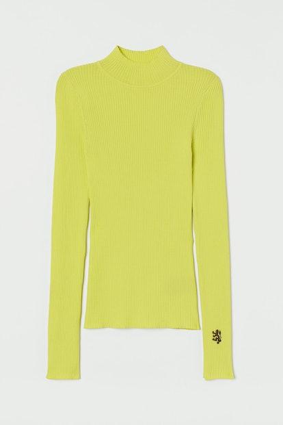 Ribbed Mock-Turtleneck Sweater