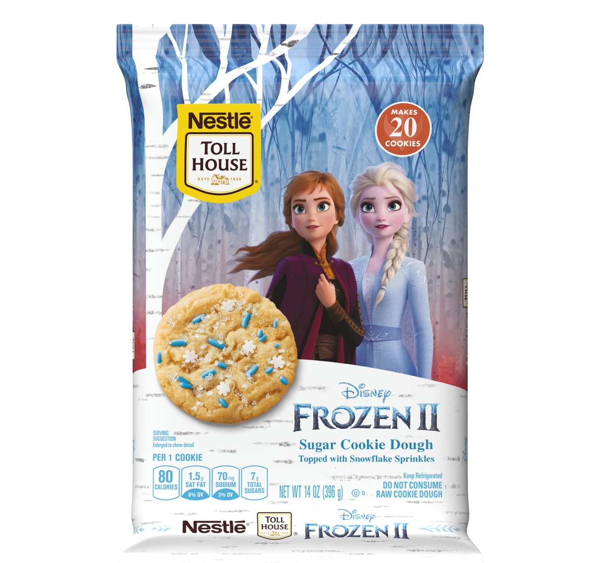 Nestlé Toll House's 'Frozen 2' Cookie Dough and Morsels have winter-themed toppings that look so cute.