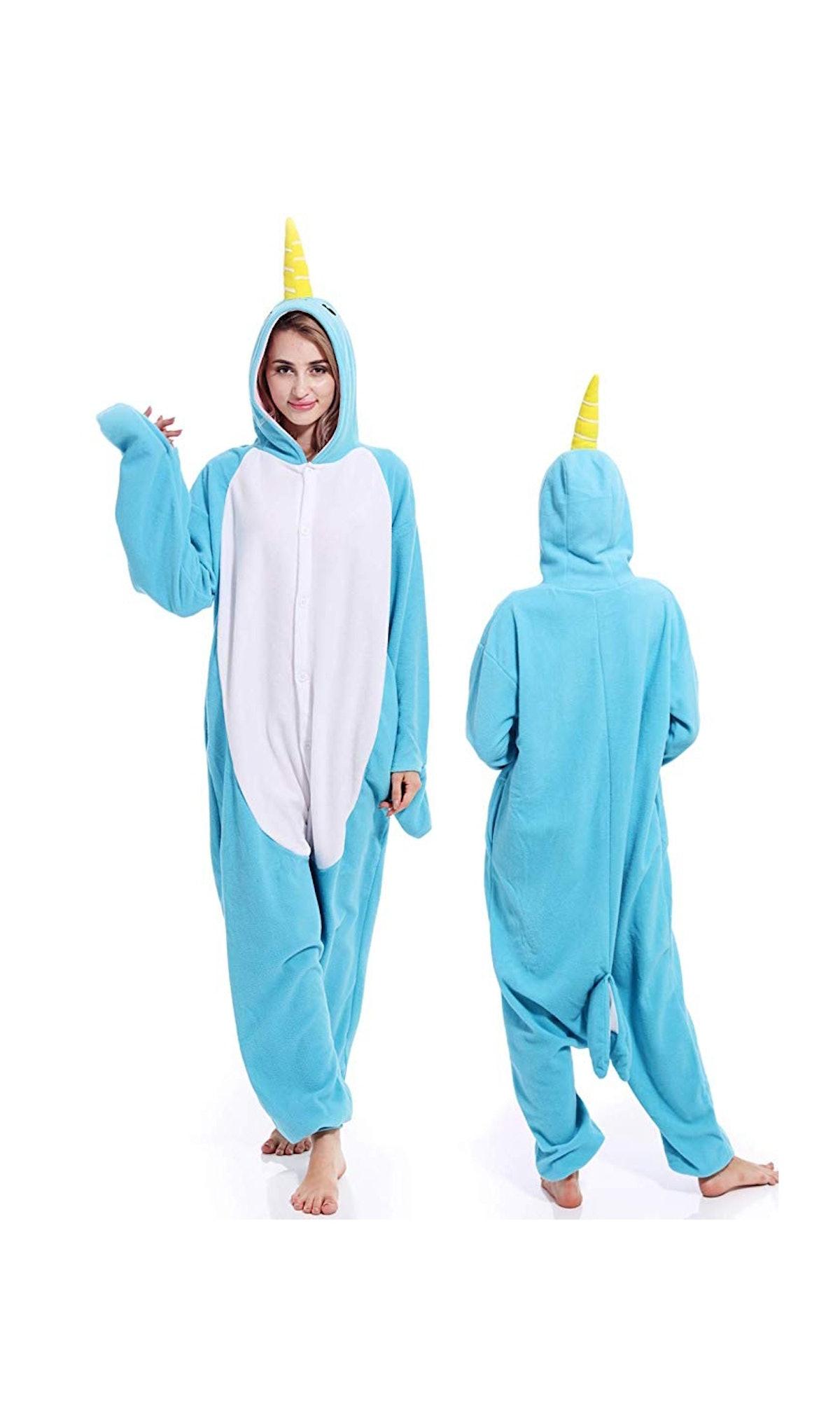 Unisex Narwhal Onesies Adult Pajamas Animal Halloween Costume Cosplay One Piece Sleepwear for Women Men