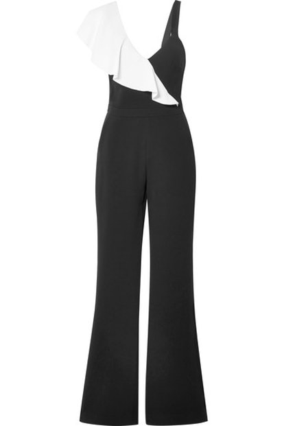 Jane ruffled two-tone crepe jumpsuit