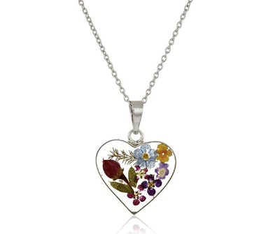 Amazon Collection Pressed Flower Heart Pendant Necklace