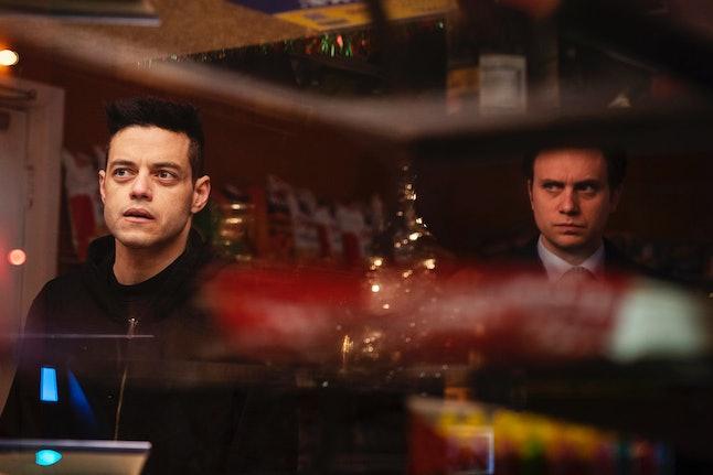 Rami Malek as Elliot Alderson and Martin Wallström as Tyrell Wellick in Mr. Robot