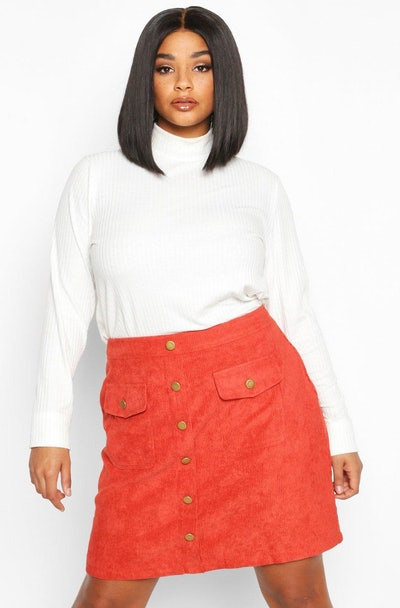 Plus Chunky Cord Pocket Front Mini Skirt