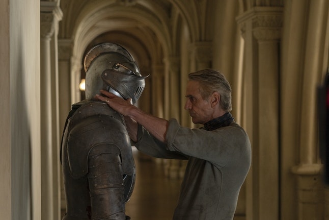 Jeremy Irons as Adrian Veidt/Ozymandias with his clone servant in HBO's Watchmen