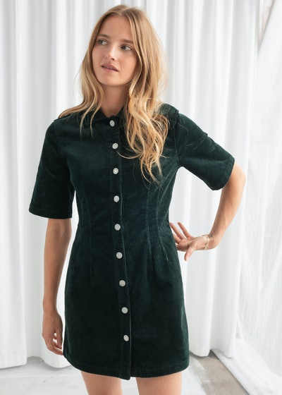 Corduroy Button Up Mini Dress