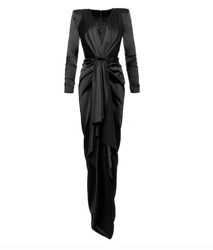 Draped Silk-Blend Satin Column Gown