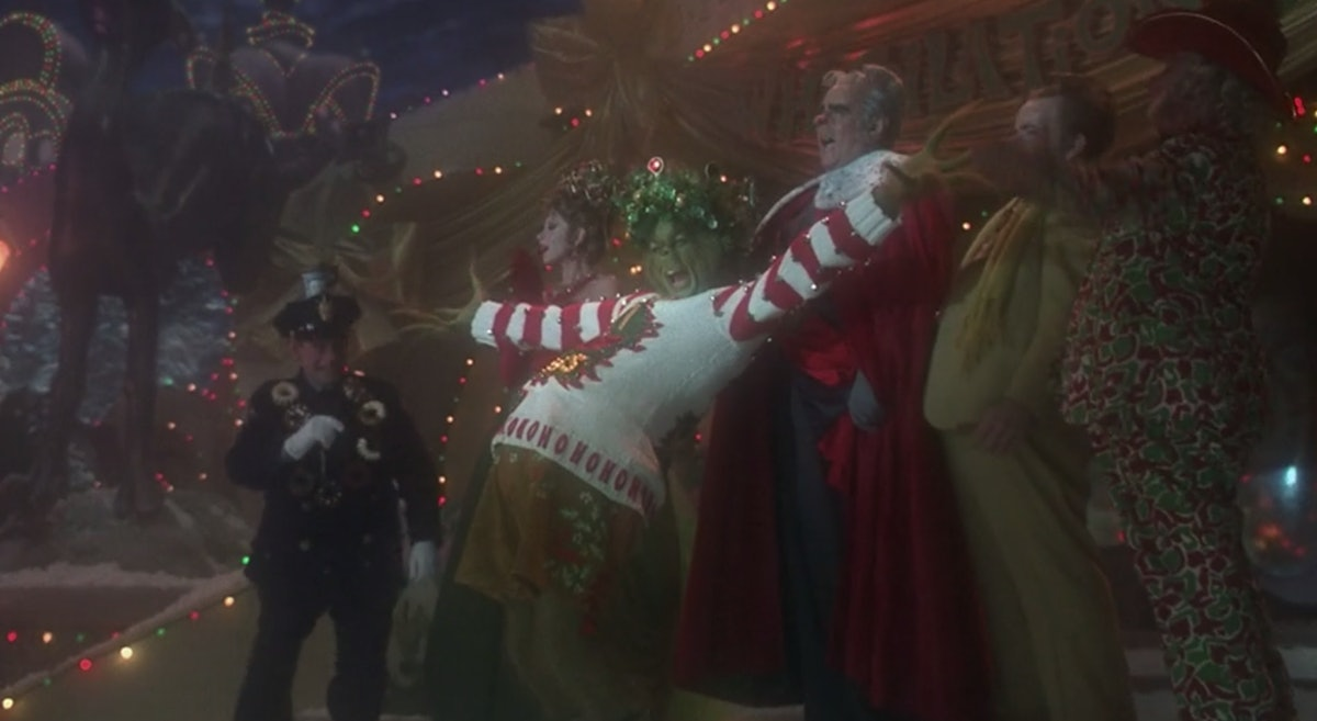 The Grinch celebrating in 'How The Grinch Stole Christmas,' part of Freeform's 25 Days of Christmas ...