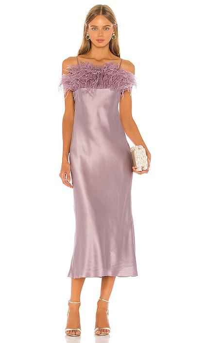 Cerise Feather Silk Slip Dress