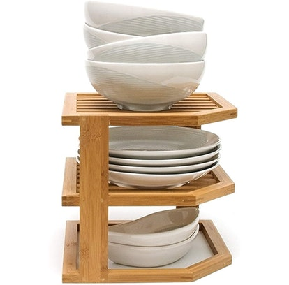 Lipper International Bamboo Wood 3-Tier Corner Shelf