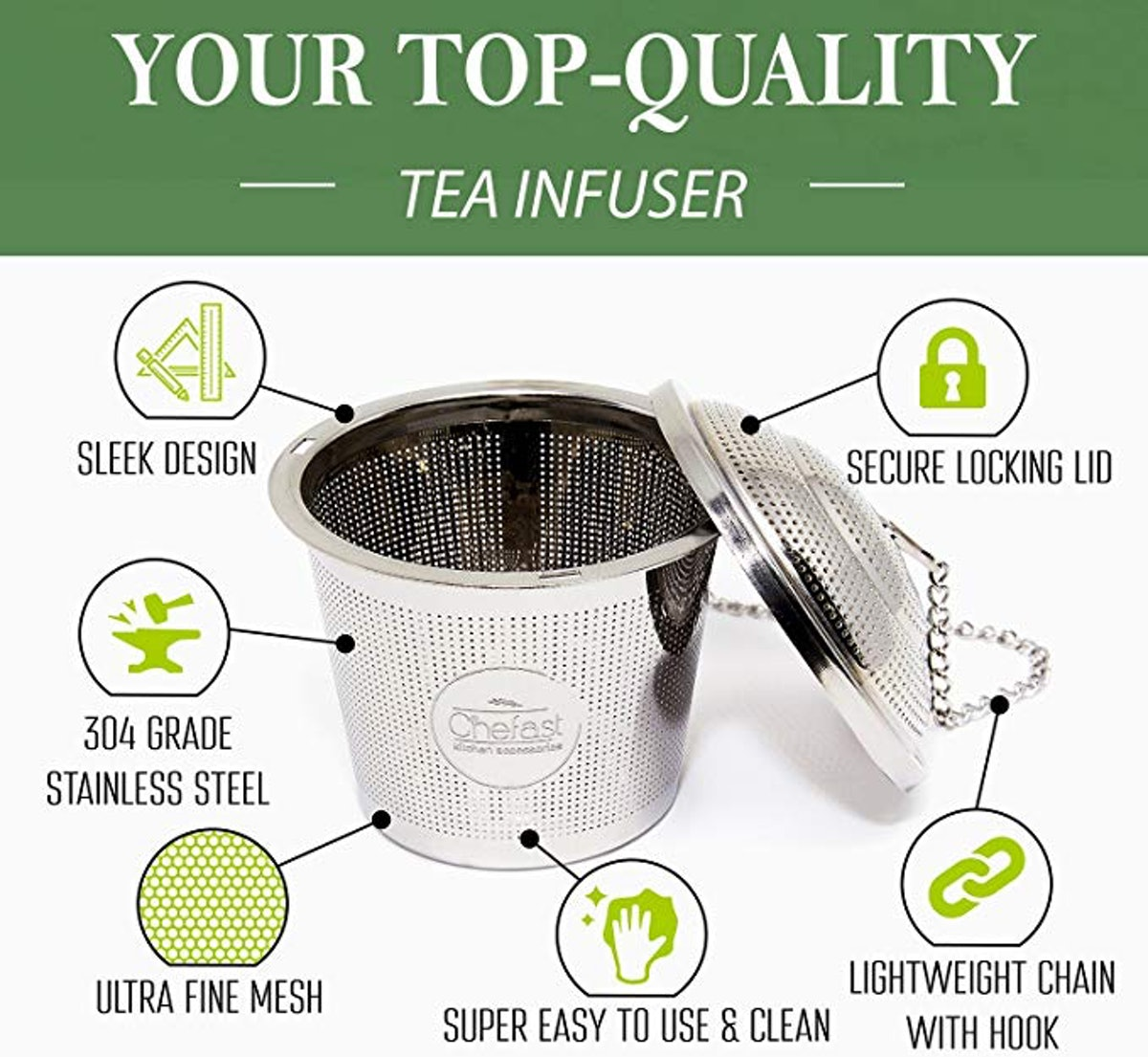 Tea Infuser Set by Chefast ( 3-Pack)