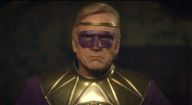 Jeremy Irons as Adrian Veidt in his Ozymandias costume in HBO's Watchmen